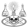 Skull with candle alchemy elements Royalty Free Stock Photo