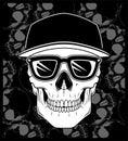 Skull cap wearing glasses vector