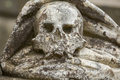 Skull carved in sandstone. Sadness. Royalty Free Stock Photo