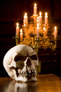 Skull in chapel Royalty Free Stock Photos