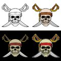 Skull crew of a pirate Ship with crossed sword
