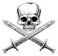 Skull and Cross Swords Royalty Free Stock Photo