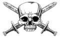 Skull and Cross Swords Woodcut Royalty Free Stock Photo