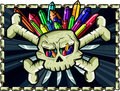 Skull and crossbone with multicolor quartz and knife Royalty Free Stock Photography