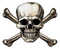Skull and crossbones icon a illustration of a human with crossed bones behind it Royalty Free Stock Images