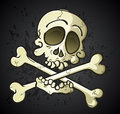 Skull and crossbones jolly roger cartoon character a classic symbol drawn as a a symbol for pirates violence on the high seas Stock Image