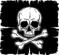 Skull and Crossbones over black flag Royalty Free Stock Photo