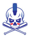 Skull and crossed baseball bat vector of Royalty Free Stock Photos