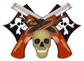 Skull with the crossed pistols. Royalty Free Stock Photography