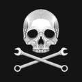 The skull and crossed wrenches on the black background. Royalty Free Stock Photo