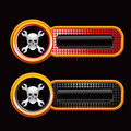 Skull and crossed wrenches on checkered tabs Royalty Free Stock Photography