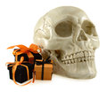 Skull with cute halloween gifts creepy human three isolated on white Royalty Free Stock Image
