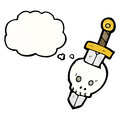 Skull and dagger cartoon Royalty Free Stock Images