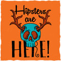 Skull with deer horns t-shirt label design.