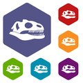 Skull of dinosaur icons set Royalty Free Stock Photo