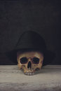 Skull with Fedora Hat Royalty Free Stock Photo