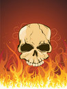 Skull in fire Stock Photo