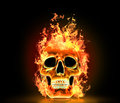 Skull with fire. Royalty Free Stock Photo