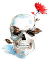 Skull and flower Royalty Free Stock Images
