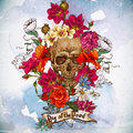 Skull and flowers day of the dead this is file eps format Stock Image