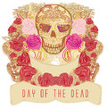 Skull and flowers day of the dead illustration Stock Photos