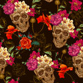 Skull and Flowers Seamless Background Royalty Free Stock Photo