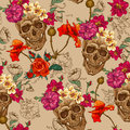 Skull and flowers seamless background this is file of eps format Stock Images