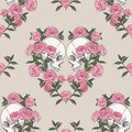 Skull and flowers. Seamless pattern Royalty Free Stock Photo