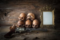 Skull and frame on wood background Royalty Free Stock Photo