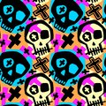 Skull funky boys and girls apparel modern print. Royalty Free Stock Photo