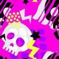 Skull funky seamless rough grunge pattern, modern design template. Royalty Free Stock Photo