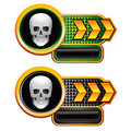 Skull on gold arrow nameplate banners Royalty Free Stock Photography