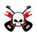 Skull with guitars and rock hand symbol. Logo for rock band. Log Royalty Free Stock Photo