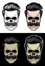 Skull with hair and mustache