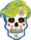 Skull halloween illustration of a adorned typical day of the dead in mexico Stock Images