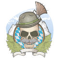 Skull with hat and bavarian gamsbart illustration of a Stock Images