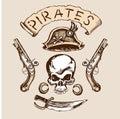 Skull hat knife muskets