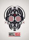 Skull-head with headphones Stock Images