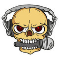 Skull with headphones Royalty Free Stock Photo