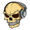 Skull with headphones Stock Photo