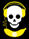 Skull with headphones and banana music player Royalty Free Stock Photo