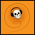 Skull with headphones Royalty Free Stock Photo