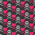 Skull, heart and crossbones seamless pattern