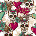 Skull, Hearts and Flowers Seamless Background Royalty Free Stock Photo