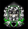 Skull helmet racing with gas mask-