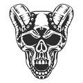 Skull, horned demon. Vector