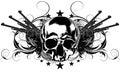 Skull human and guns