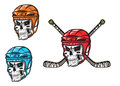 Skull with ice hockey amunition in cartoon mascot style for sports design Royalty Free Stock Photos