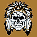 Skull indian chief with feather hat