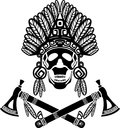 Skull in indian headdress and crossed tomahawks Stock Photography